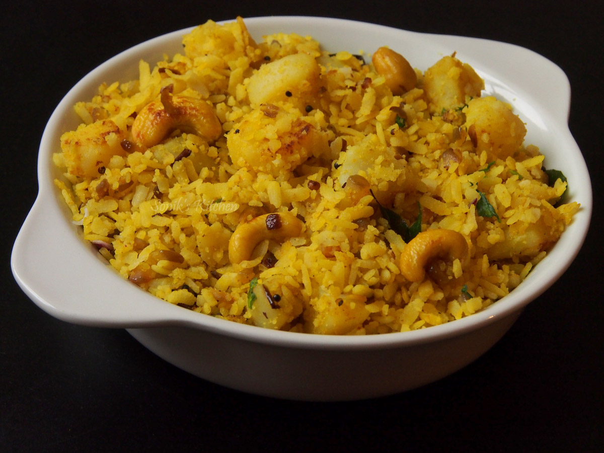 Aloo Poha (Flattened Rice With Potatoes)