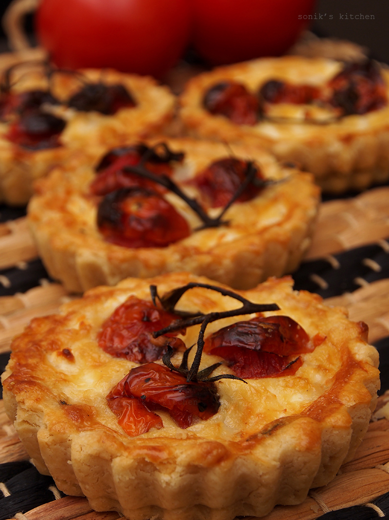 Cherry Tomato and Cheese Tarts