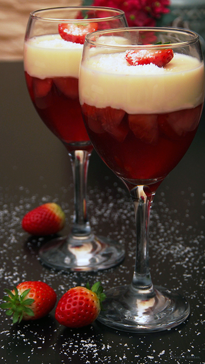 Strawberry Jelly with Coconut Panna Cotta