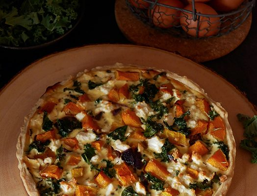Butternut & Kale Quiche with Caramelised Onions